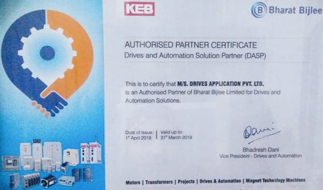 KEB Authorised Partner Certificate